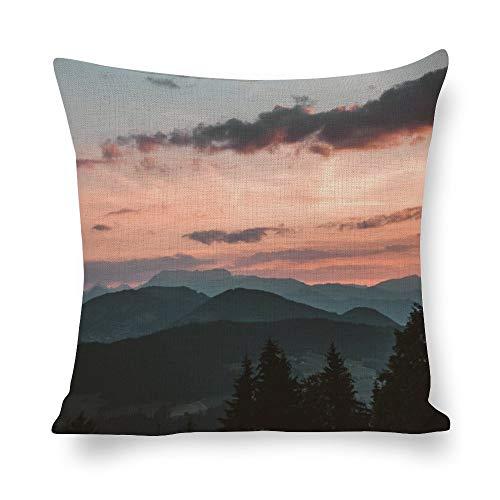 N/ A Fundas de almohada decorativas Dawn Nature Paisaje Verde azulado Botánico Montañas Paisaje Paisaje paisaje paisaje paisaje paisaje paisaje paisaje de lino fundas de almohada de impresión fotográfica para sofá de 24 pulgadas l7bo0hhcms11