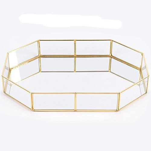 advancethy Spiegeltablett 20x14.2x4.5cm Schmuck Ablageschale Glas Vintage Schmuck Dekoration Metall Verspiegelt Verzierten Nordischen Ins Gold für Schmuck Desktop Dekorative