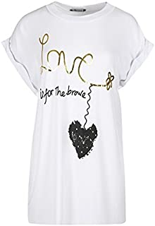 Womens Love is for Brave Varsity Baggy Oversized Cap Turn Up Sleeve T Shirt Top