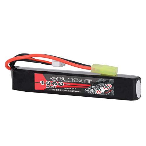GOLDBAT Airsoft Batterie 1300mAh 11.1V 25C 3S Hohe Entladerate Lipo Batterie Pack mit Mini Tami Anschluss für Airsoft Pistolen MP5, RPK, PKM