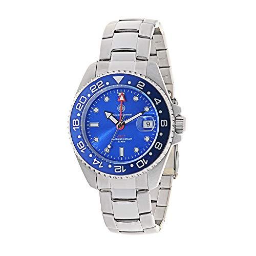 Constantin Durmont Unisex Erwachsene Analog Quarz Uhr mit Edelstahl Armband Cavity GMT 130330