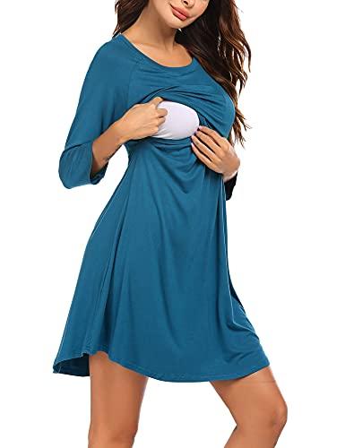 UNibelle Vestido de maternidad para mujer, camisón de maternidad, camisón de lactancia, manga 3/4, camisón para embarazadas y lactancia, tallas S-XXL, Mangas de 3/4., XXL