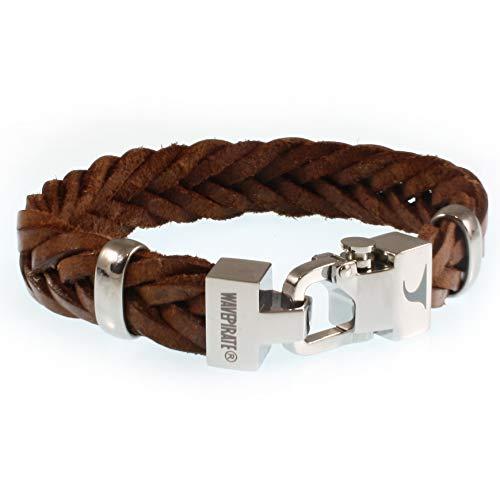 WAVEPIRATE® Echt Leder-Armband Turn F15 Cognac 23 cm Edelstahl-Verschluss in Geschenk-Box Surfer Herrenarmband Männer