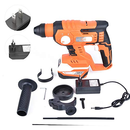 Power Hammer Drills, Industrial 4 in 1 Lithium Battery Brushless Cordless Electric Breaker Hammer 0-1400rpm for Drilling Wood, Steel, Masonry, Cement, Concrete(US PLUG 100-240V)