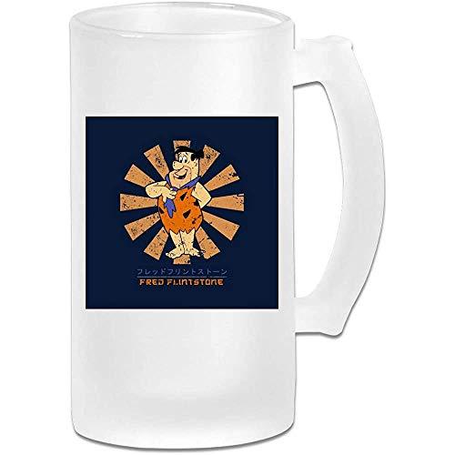 Taza de jarra de cerveza de vidrio esmerilado de 16 onzas impresa - Fred Flintstone Retro Japanese - Graphic Mug