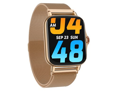 Minix Vega Full Touch Smartwatch with HD Bluetooth Calling 1.69 inch Bezel Less Full Touch Display (Gold Metal )