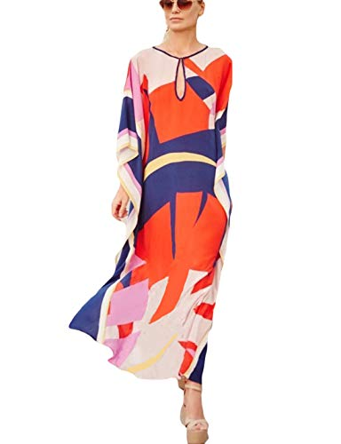 Ailunsnika Women Rayon Multicolor Swimsuits Cover Up Loose V Neck Batwing Sleeve Ethnic Print Caftan Beachwear Dress