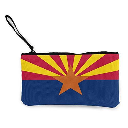 SDFGJ Arizona State Flag Canvas Coin Coin Purse Cute Wristlet Wallet Money Coin Bag Cellphone Bag with Zipper