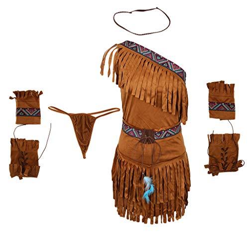 oshhni Disfraz de Borla de Nativo Americano para Mujer Traje de Princesa Pocahontas - Caqui, SG