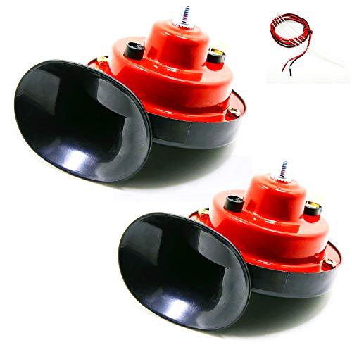 YIYIDA Bocina eléctrica para coche Car Horn Bocina eléctrica Corneta de aire 130DB Kit de bocinas impermeables de tono rojo alto y tono bajo con soporte Bocina de camión para 12V yate moto camión etc