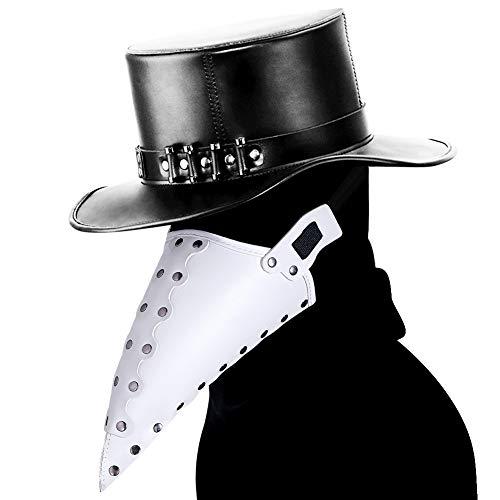 DEMO Pest-Doktor Maske Crow Lange Nase Bird Beak Steampunk Halloween-Maskerade-Partei Cosplay Partei Props für Karneval Maskerade Bälle Parteien Festivals Maske,Weiß