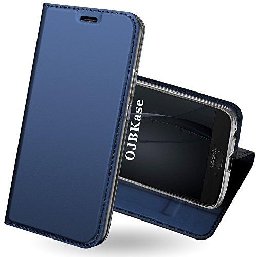 OJBKase Moto G6 Plus Hülle, Premium Slim PU Leder Handy Schutzhülle [Standfunktion] Hülle/Cover/Brieftasche/Ledertasche Bookstyle Tasche Lederhülle Handyhülle für Motorola Moto G6 Plus (Blau)