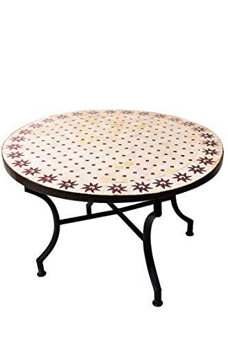 ORIGINELE Marokkaanse mozaïek tafel salontafel ø 100 cm groot rond | ronde kleine mozaïek tuintafel meditreran | als tafel bijzettafel voor balkon of tuin | Soleil natuur bordeaux 100 cm
