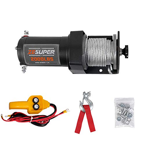 ZESUPER 2000 lb 12V DC Electric Winch 50 ft Steel Cable Off Road Waterproof UTV ATV Boat Modified Vehicles Winch Kits Wireless Remote