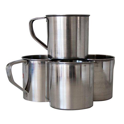 ToCi Acero inoxidable taza con mango | camping Taza Vaso de viaje 0,5 l | Vaso Taza taza de acero inoxidable para camping y Exterior, 4 unidades
