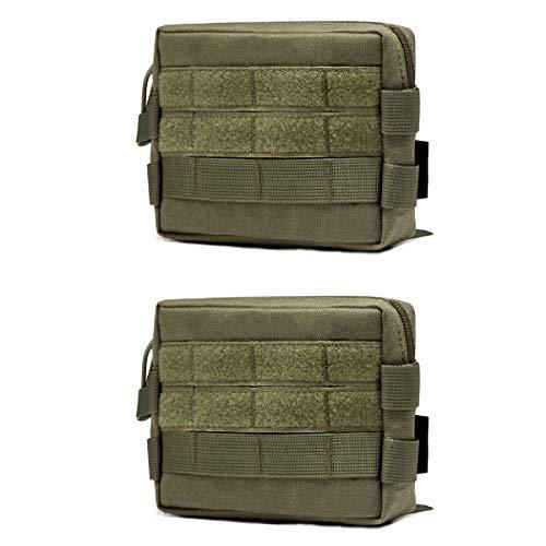 TRIWONDER Taktische Hüfttaschen, Militär Gürteltasche, Multifunktional Notfalltasche Tasche Beutel für Outdoor Wandern Trekking (Grün - 2 TLG)