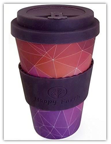 STARGAZER von Happy Earth (Wiederverwendbare Öko-Kaffeetasse 450ml, mit Bio-Bambus Naturfaser, kann als Reisebecher oder Kaffee-Tasse zu Hause verwendet werden)