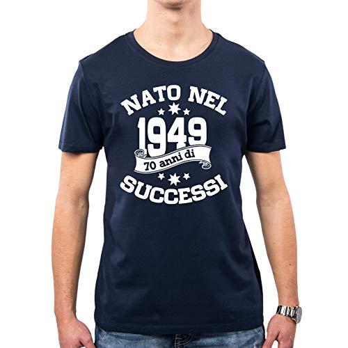 PacDesign T-Shirt Uomo 70 Anni Leva 1949 Regalo di Compleanno Maglietta Uomo PD1631A