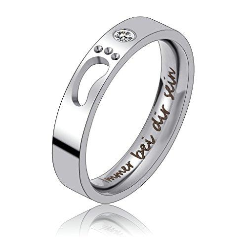Bishilin Verlobungsring mit Gravur Immer bei dir Sein, Damen Ring Zirkonia 4MM Freundschaftsringe Edelstahl Ring Silber Größe 54 (17.2)