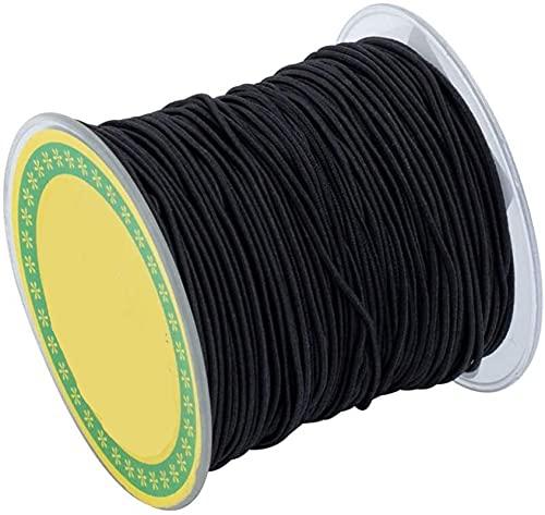 Moulding Alrededor de 100m / Roll 0.8mm Redonda de Fibra elástica cordón de cordón de cordón de Hilo de Estiramiento Hilo Hilo Cordón Cordón Negro para Pulsera Beading Jewelry Fabricación