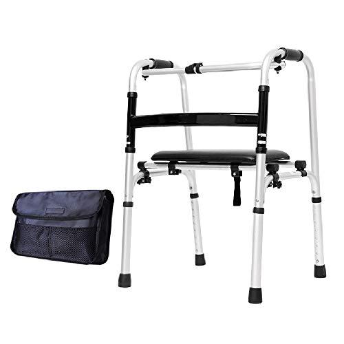 Hyxqyzbq Opvouwbare rollator, met zachte lederen bekleding, licht antislip, in hoogte verstelbaar, voor oudere mensen