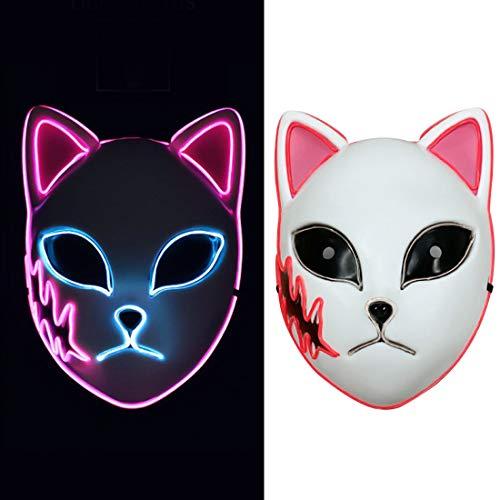 Sabito Demon Slayer Fox Cat Mask Replica LED Light Up Luminous Glowing Kimetsu no Yaiba Toy Comic Cosplay Props Adults