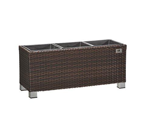 Gartenfreude Macetero separador de espacios, polirratán para interior y exterior, inserto de plástico con patas de aluminio, marrón, 78 x 27 x 34 cm, 4000-1072-022