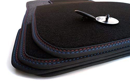 Fußmatten 3er Coupe E92 Velours M-Edition Doppelnaht Umrandung (rot/blau) Premium Autoteppich 4-teilig