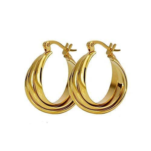 BOBIJOO JEWELRY - Oorbellen, 3 Ringen, Gouden Kleine Creoolse Vrouw