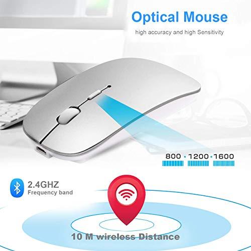 Mouse Bluetooth Wireless Compatibile con Laptop/Macbook/iPad/iPhone (iOS 13.1.2 e successiva) PC Computer Android Mini Mouse Silenzioso Ricaricabile per Windows/Linux/Mac 3DPI Regolabile Bluetooth4.0