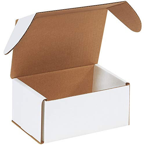 Boxes Fast BFMEZ753 Outside Tuck Top Shipping Boxes, 7 5/8 x 5 7/16 x 3 9/16 Inches, Corrugated Cardboard Die-Cut Mailers, Small White Mailing Boxes (Pack of 25)