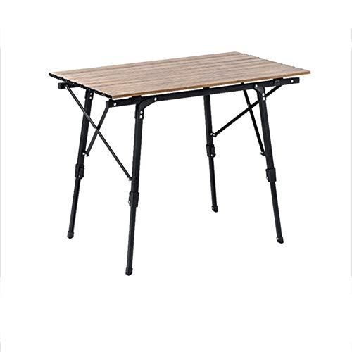Mesa plegable para exteriores de 36 * 21 pulgadas Mesa portátil retráctil de viaje para acampar de 18-27 pulgadas, mesa de comedor de almacenamiento simple, grano de madera de aleación de aluminio