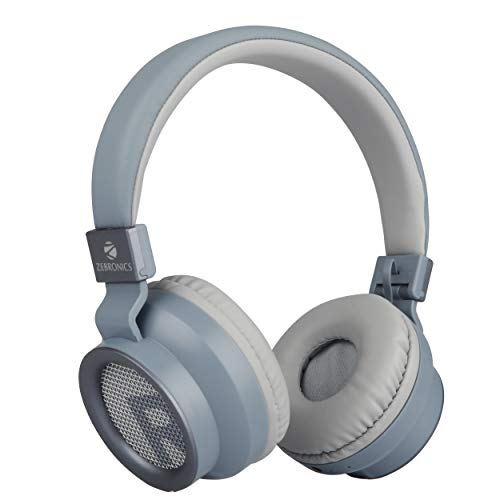 Zebronics Zeb-Bang Foldable Wireless BT Headphone Comes with 40mm Drivers, AUX Connectivity, Call Function, 16Hrs* Playback time & Supports Voice Assistant (Grey)