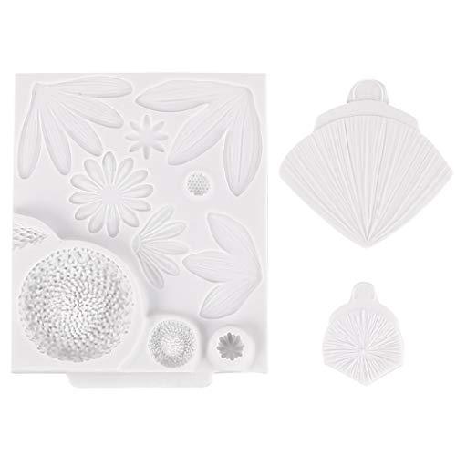 Manyao - Moldes de silicona para caramelos, diseño de hojas de pétalos 3D, molde de silicona para tartas