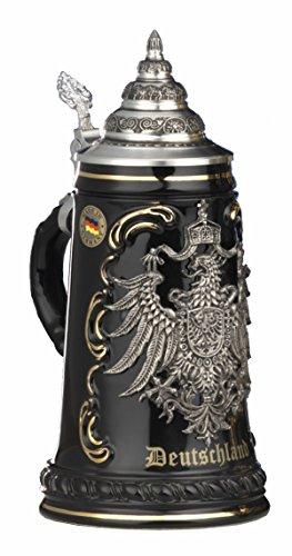 Jarra de cerveza alemana King - Negra con escudo de estaño, jarra 1 litro