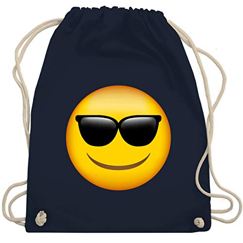 Comic Shirts - Emoticon Sonnenbrille - Unisize - Navy Blau - turnbeutel junge - WM110 - Turnbeutel und Stoffbeutel aus Baumwolle