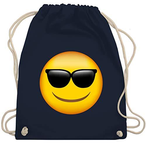 Comic Shirts - Emoticon Sonnenbrille - Unisize - Navy Blau - beuteltasche schwarz - WM110 - Turnbeutel und Stoffbeutel aus Baumwolle
