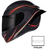 QXFJ Casco Moto,Caschi integrali Casco Integrale Moto Casco Moto da Pista Nero E Rosso personalità Casco Fresco Uomo E Donna Certificato DOT Quattro Stagioni