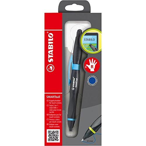 STABILO SMARTball - Kugelschreiber & Stylus für Tablets & Smartphones für Rechtshänder in schwarz/cyan - Schreibfarbe blau