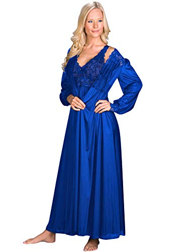 Shadowline Silhouette Gown and Peignoir Set (51737), Navy, L