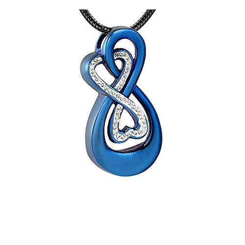 Urna Cremación Colgante Collar De Cremación Para Mujer Accesorios Joyas Cristales Incrustaciones Color Azul Real Corazón Vinculado 1 Piezas