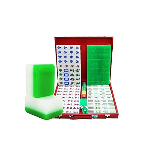 SASAMM Chinese Mahjong Game Set - with 144 Medium Size Tiles, 3 Dice and a Wind Indicator,The Best Gift for Mahjong Lovers