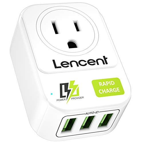 USB Wall Charger, LENCENT Wall Adapter with AC Outlet and 3 USB Ports, Cube Power Strip Extender Plug Expander with Multiple USB Charger, NO Surge Protector for Travel Cruise Ship, Home, Office