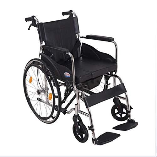 Wheelchair Silla De Viaje Portátil Plegable para Silla De Ruedas Transit con Cómoda Extraíble para Ancianos Discapacitados,Blackpneumatictire