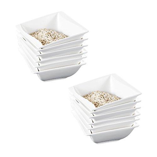 MALACASA, Serie Carina, 12 TLG. Set Cremeweiß Porzellan 5,25 Zoll / 13,5 * 13,5 * 5,5cm Schüssel Schalen Müslischüssel Salatschüsseln Dessertschalen