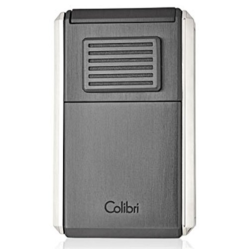 Colibri Astoria Gunmetal Triple jet Lighter with fold-out Cigar cutter New