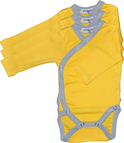 Princess Taufkleid Langarm Wickelbodys 3er Pack gelb/grau Grösse 56 Body Unisex 100% Baumwolle mit Druckknöpfen