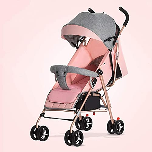 IOUYRRN Baby Stroller Pram Stroller - All Terrain Pushchair Stroller Compact Convertible Luxury Strollers Rose Gold Frame Ightweight Travel Stroller – Suitable From Birth (Fresh Grey) (Color : P