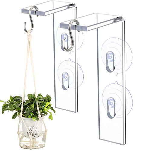 2 Pieces Suction Cup Window Hanger Window Shell Indoor Window Plant Veg Dangler Acrylic Garden Hanger Bird Feeder Holder for Wind Chimes Ornaments Flower, Pots Plants and More