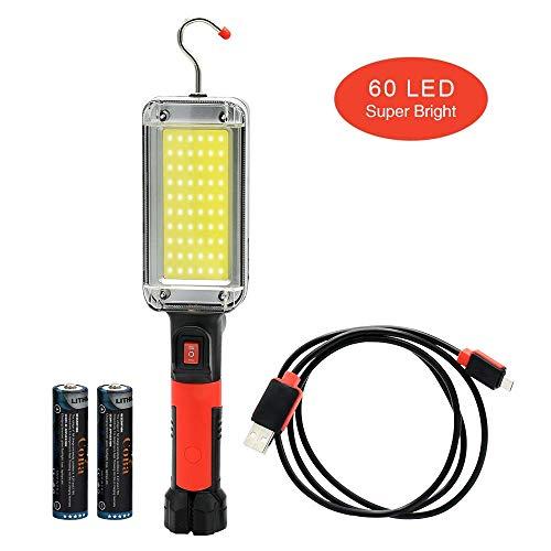 l/ámpara de advertencia LED de carga USB de alta intensidad y luz fuerte para acampar al aire libre sin bater/ía Round Cob With Red /& Blue Warning Light Luz de inundaci/ón del trabajo de la MAZORCA